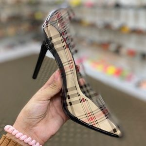 Plaid PVC clear High Heels Pumps